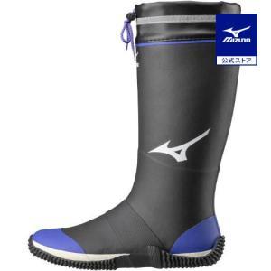ミズノ公式 ワークブーツ 長靴 ジャスタフィットNL1 ユニセックス ブラック×ブルー