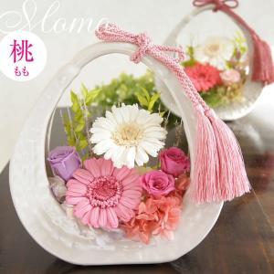 花 アレンジメント プレゼント おしゃれ 和風 プリザーブドフラワー 白い綺麗な器に入った陶器の花かご  組紐 ピンク バラ 贈り物 敬老の日|mizutomo