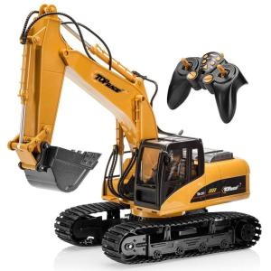 ラジコン ショベルカー おもちゃ Top Race 15 Channel Full Functional Remote Control Excavator Construction Tractor, Excavator Toy with 2.4Ghz Transmitte|mj-market