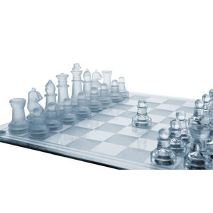 "ガラス チェスセット Glass Chess Set, 3 Sizes (7.5""/10""/14"") - Elegant Design- Durable Build- Fully Functional - 32 Frosted & Clear Pieces - Fel