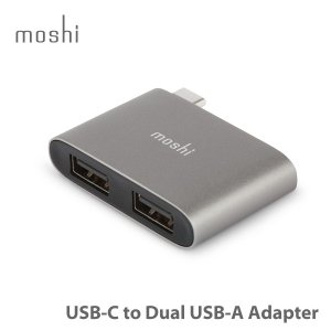 moshi USB-C to Dual USB-A Adapter  (Titanium Gray) USB 3.1 Gen1 ポート x 2   USB-A対応 ポイント10倍|mjsoft