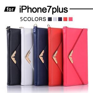 iPhone7 Plus ケース 耐衝撃 iPhone7プラス カバー 手帳型 アイフォン7プラス スマホケース 三つ折り 全面カバー かわいい クラッチ ストラップ付 女性