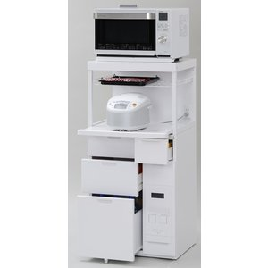 米びつ付きレンジ台 幅60 「キャビー」CB-338W 完成品 (キッチン収納、米びつ付・米収納量=12kg)|mkseiko