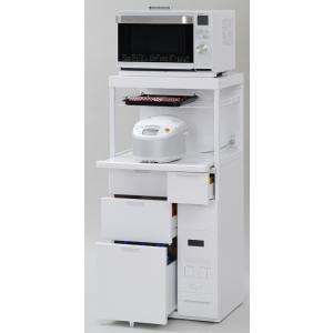 米びつ付きレンジ台 幅60 「キャビー」CB-338W (キッチン収納、米びつ付・米収納量=12kg)|mkseiko