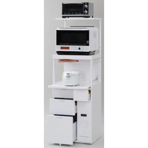 米びつ付きレンジ台 幅60 「キャビー」CBU-338W (キッチン収納、米びつ付・米収納量=12kg)|mkseiko