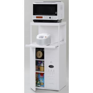 米びつ付きレンジ台 幅60 「ファインキッチン」CD-304W (キッチン収納、米びつ付・米収納量=30kg)|mkseiko