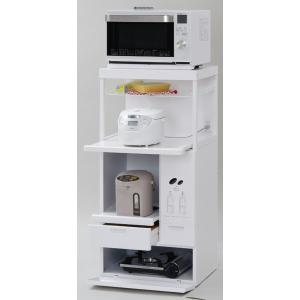 米びつ付きレンジ台 幅60 「キャビー」CH-306W (キッチン収納、米びつ付・米収納量=10kg)|mkseiko
