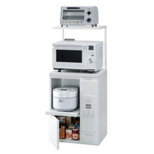 米びつ付きレンジ台 幅60 「ファインキッチン」KLS-06W (キッチン収納、米びつ付・米収納量=20kg)|mkseiko