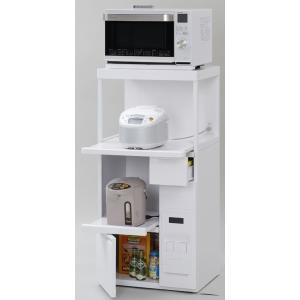 米びつ付きレンジ台 幅60 「ファインキッチン」SK-306W 完成品 (キッチン収納、米びつ付・米収納量=12kg)|mkseiko