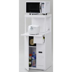 米びつ付きレンジ台 幅50 スリムタイプ  「ファインキッチン」SK-311W (キッチン収納、米びつ付・米収納量=12kg)|mkseiko
