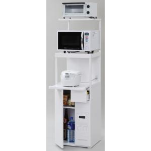 米びつ付きレンジ台 幅50 スリムタイプ  「ファインキッチン」SKU-311W (キッチン収納、米びつ付・米収納量=12kg)|mkseiko