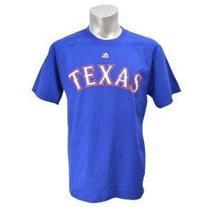 MLB レンジャーズ Tシャツ ブルー マジェスティック New Wordmark Tシャツ mlbshop