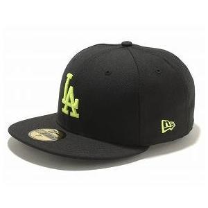 お取り寄せ MLB ドジャース キャップ/帽子 ブラック/ネオンイエロー ニューエラ 5950 Custom Color キャップ|mlbshop