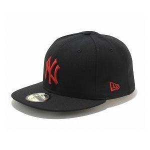 お取り寄せ MLB ヤンキース キャップ/帽子 ブラック/ラディアントレッド ニューエラ 5950 Custom Color キャップ|mlbshop