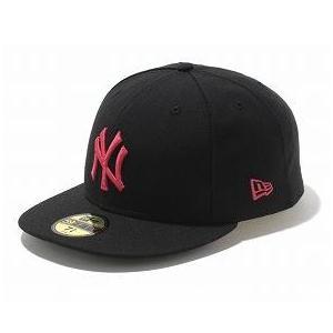 MLB ヤンキース キャップ/帽子 ブラック/ストロベリー ニューエラ 5950 Custom Color キャップ|mlbshop