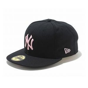 MLB ヤンキース キャップ/帽子 ブラック/ピンク ニューエラ 5950 Custom Color キャップ|mlbshop