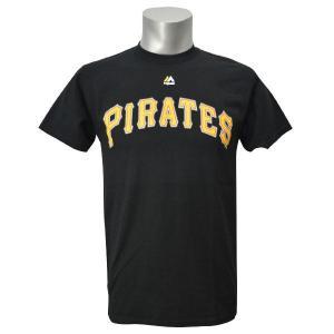 MLB パイレーツ Tシャツ ブラック マジェスティック New Wordmark Tシャツ mlbshop