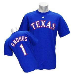 MLB レンジャーズ エルビス・アンドラス Tシャツ ロイヤル マジェスティック Player Tシャツ mlbshop