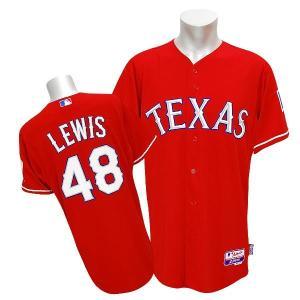 MLB レンジャーズ コルビー・ルイス ユニフォーム オルタネート/スカーレット マジェスティック Authentic Player ユニフォーム mlbshop