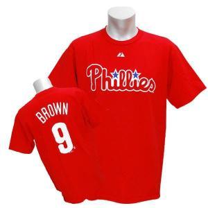 MLB フィリーズ ドモニク・ブラウン Tシャツ レッド マジェスティック Player Tシャツ|mlbshop