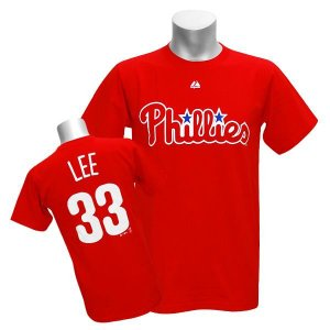 MLB フィリーズ クリフ・リー Tシャツ レッド マジェスティック Player Tシャツ|mlbshop