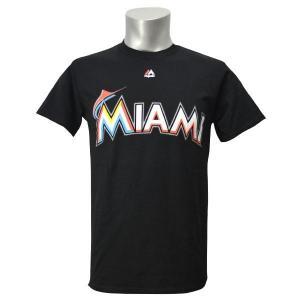 MLB マーリンズ Tシャツ ブラック マジェスティック New Wordmark Tシャツ|mlbshop