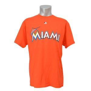MLB マーリンズ Tシャツ オレンジ マジェスティック New Wordmark Tシャツ|mlbshop
