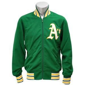 MLB アスレチックス ジャケット ダークグリーン ミッチェル&ネス Authentic BP ジャケット 【1709MLB】|mlbshop