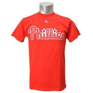 MLB フィリーズ Tシャツ レッド マジェスティック New Wordmark Tシャツ|mlbshop