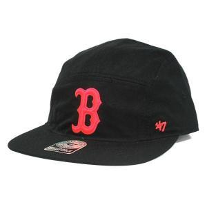 MLB レッドソックス キャップ/帽子 ブラック 47ブランド Bergen 5-Panel キャップ w/ Leather Strap|mlbshop