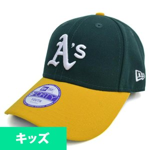MLB アスレチックス キッズキャップ/帽子 グリーン ニューエラ Youth Pinch Hitter キャップ mlbshop