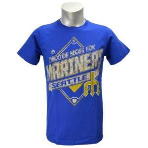 【セール】即日発送可 MLB マリナーズ Tシャツ ブルー マジェスティック Copperstown Game Obsessed Tシャツ|mlbshop