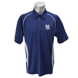 MLB ヤンキース ポロシャツ ネイビー マジェスティック Ahletic Advantage Synthtic Polo|mlbshop