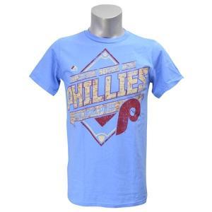 MLB フィリーズ Tシャツ ライトブルー マジェスティック Copperstown Game Obsessed Tシャツ|mlbshop