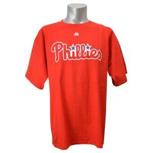 MLB フィリーズ Tシャツ レッド マジェスティック Wordmark Tシャツs|mlbshop