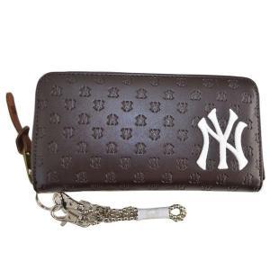 MLB ヤンキース 長財布/ウォレット ブラウン イーカム/E-come PU型押し総柄長財布|mlbshop