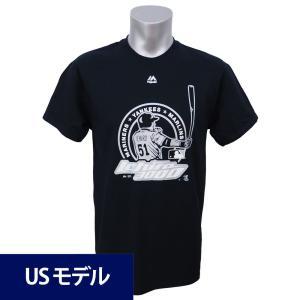 MLB マーリンズ イチロー メジャー通算3000安打達成記念 ロゴ Tシャツ マジェスティック ブラック|mlbshop