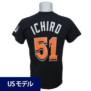 MLB マーリンズ イチロー メジャー通算3000安打達成記念 ネーム&ナンバー Tシャツ マジェスティック ブラック|mlbshop