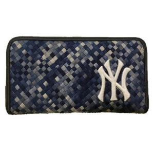 MLB ヤンキース 編み込み 長財布 イーカム/E-come マルチブルー|mlbshop