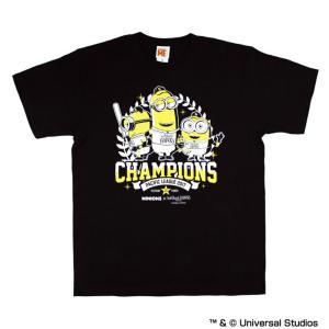 福岡ソフトバンクホークス グッズ 2017パリーグ優勝記念 ミニオン minions×ホークス Tシャツ スペースエイジ Space Age ブラック mlbshop