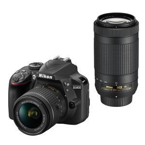Nikon デジタル一眼レフカメラ D3400 ダブルズームキット ブラック D3400WZBK|mlf