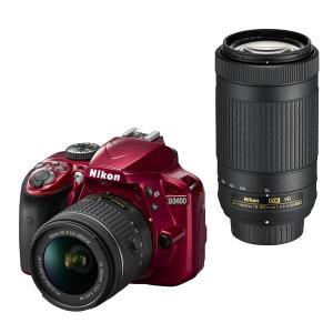 Nikon デジタル一眼レフカメラ D3400 ダブルズームキット レッド D3400WZRD|mlf