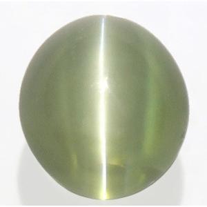 12867 グリーンクリソベリルキャッツアイ ルース 2.84ct 強いキャッツアイ効果 黄緑 半透明 インド産 : 瑞浪鉱物展示館 【送料無料】|mm-museum