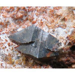 15199 鋭錐石 母岩付 美結晶 強い光沢 金紅石の同質異像 パキスタン産 : 瑞浪鉱物展示館 【送料無料】|mm-museum