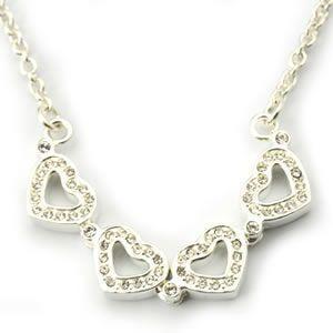 フォリフォリ  Heart4Heart Necklace ハート4ハート ネックレス シルバー クリスタル 3N1F033C|mmworld