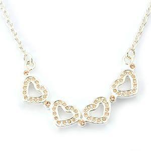 フォリフォリ  Heart4Heart Necklace ハート4ハート ネックレス シルバー ピーチ 3N1F033S|mmworld