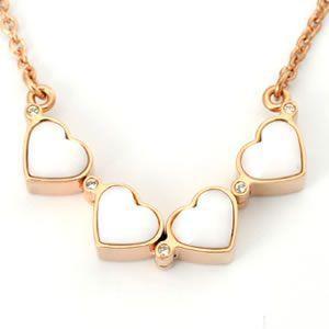 フォリフォリ  Heart4Heart Necklace ハート4ハート ネックレス  ピンクゴールド ホワイトエナメル 3N1T006RW|mmworld
