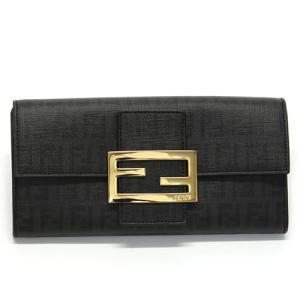 フェンディ  ズッカ柄 FFロゴ 二つ折り長財布 ブラックFF×ブラック 8M0021 YG1 F0KUR BLACK GOLD mmworld