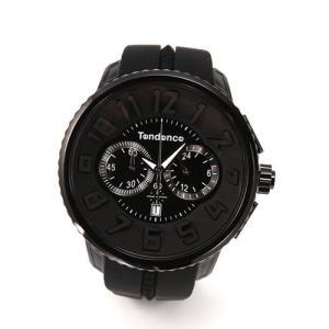 テンデンス メンズ 腕時計 Roundo Gulliver Chrono(ラウンド・ガリバー・クロノ)シリーズ 超おススメ・モテ系オールブラック クロノグラフ 02036010AA|mmworld