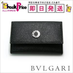 Bvlgari 20234 レザーキーケース メンズ ブラック系 プレゼント 新品 6連キーリング付 ギフト|mnet